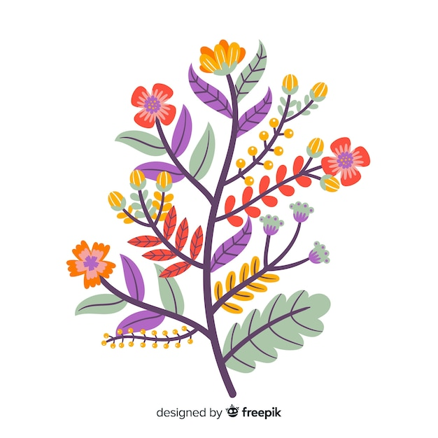 Flat design colorful floral branch Free Vector