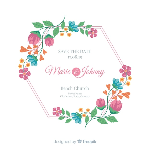 Flat design of a colorful floral wedding invitation frame Free Vector