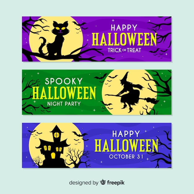 Flat design colorful full moon halloween banners Free Vector