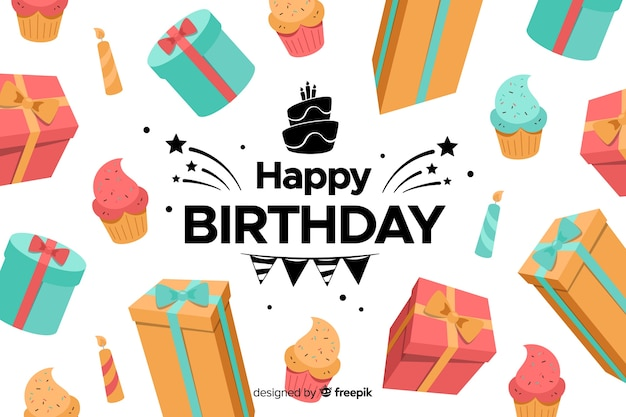 Flat design colorful happy birthday background Free Vector