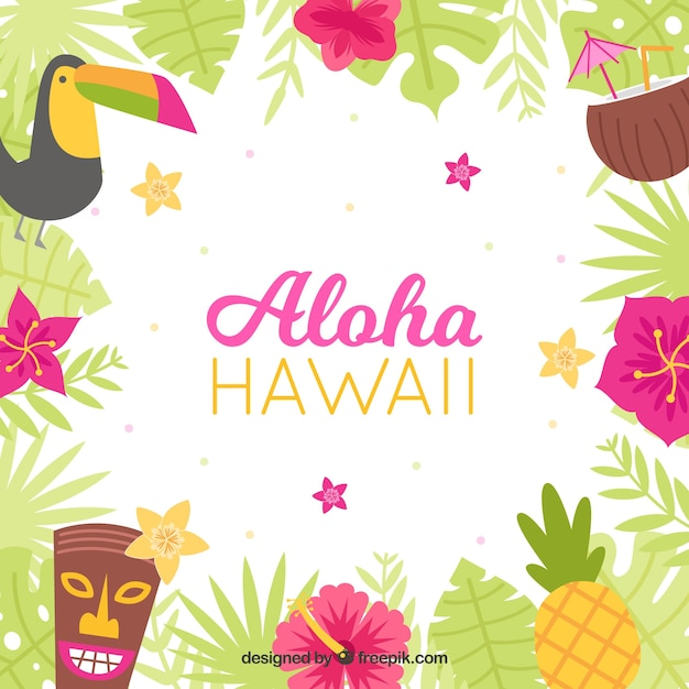flat design colorful hawaii aloha background vector free