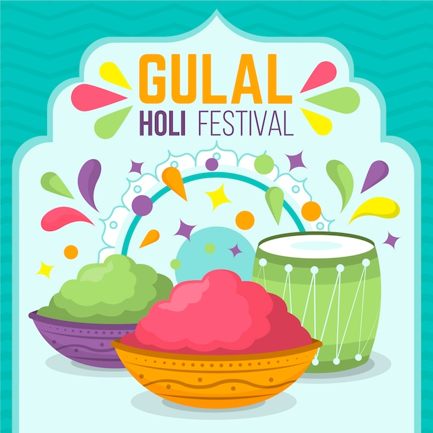 Flat design colorful holi gulal concept Free Vector