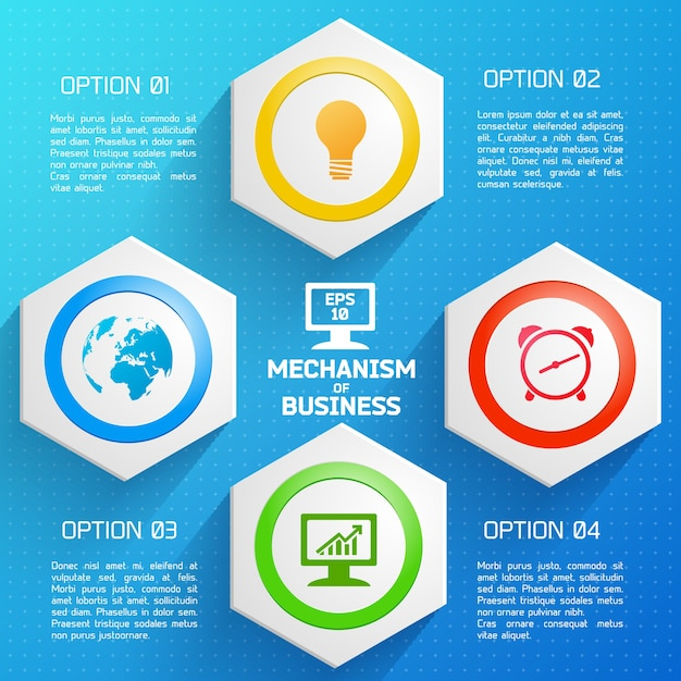 Flat design colorful infographic template with mechanism of business description Free Vector