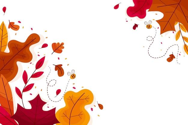 Плоский дизайн красочные листья обои с копией пространства Бесплатные векторы