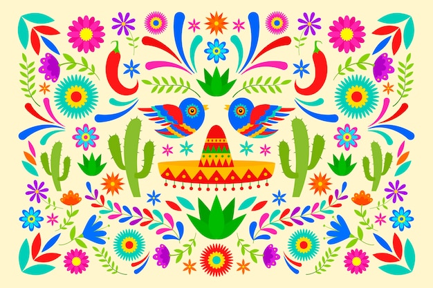 Flat design colorful mexican background style Free Vector