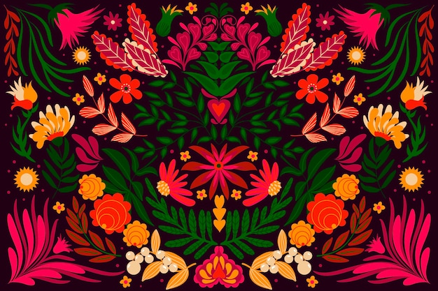 Flat design colorful mexican background theme Free Vector