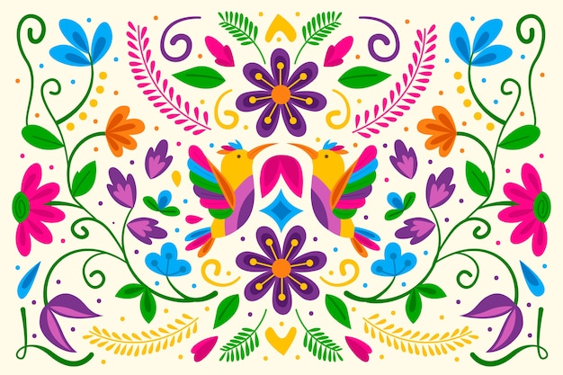 Flat design colorful mexican background Free Vector