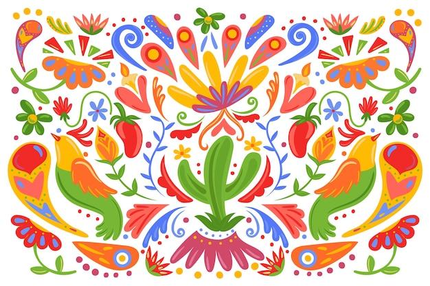 평면 디자인 화려한 멕시코 배경 프리미엄 벡터