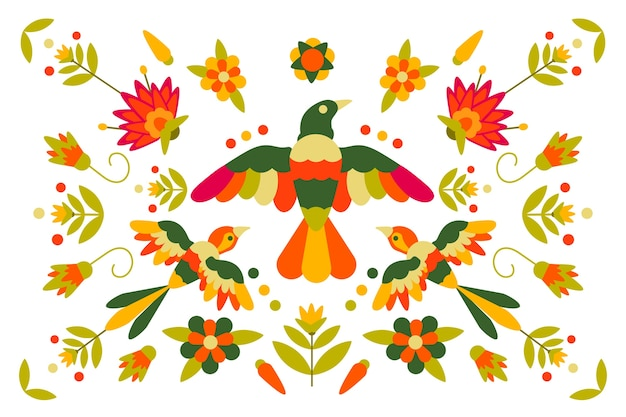 벽지에 대 한 평면 디자인 화려한 멕시코 테마 무료 벡터