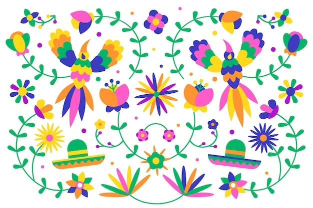 Плоский дизайн красочные мексиканские обои концепция Бесплатные векторы