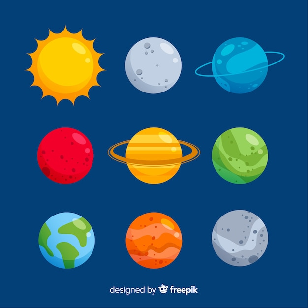 Flat design colorful planet collection Free Vector