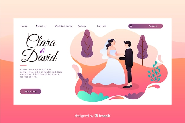 Flat design colorful wedding landing page with newlyweds characters Free Vector
