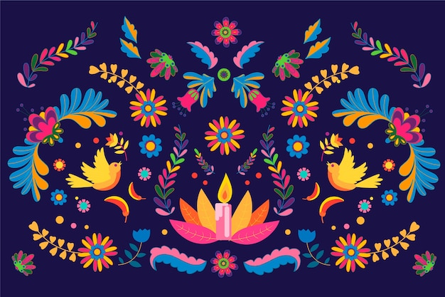 Flat design of colourful mexican background Free Vector