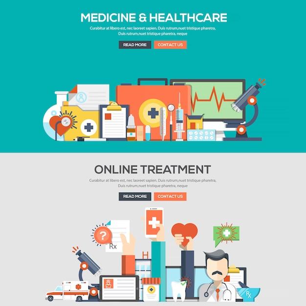 Flat design concept banner - medicine and healthcare Premium Vector