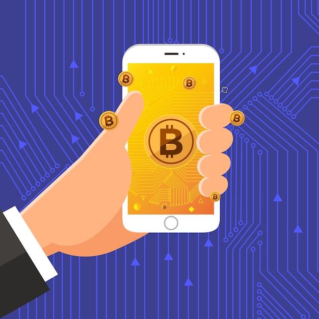 Flat design concept bitcoin cryptocurrency Premium Vector