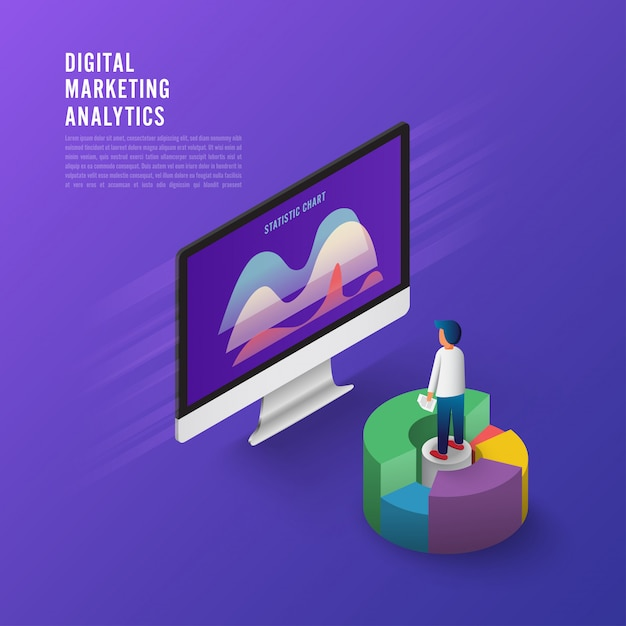 Flat design concept business strategy. 3d isometric flat design. analysis data and investment. Premium Vector