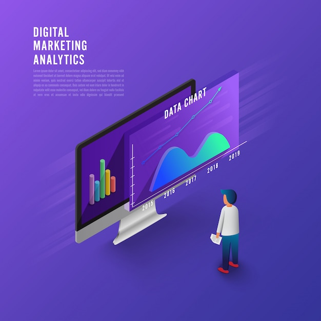 Flat design concept business strategy. 3d isometric flat design. analysis data. Premium Vector