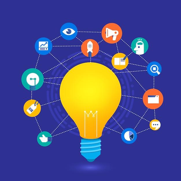 Flat design concept create big idea with light bulb. Premium Vector