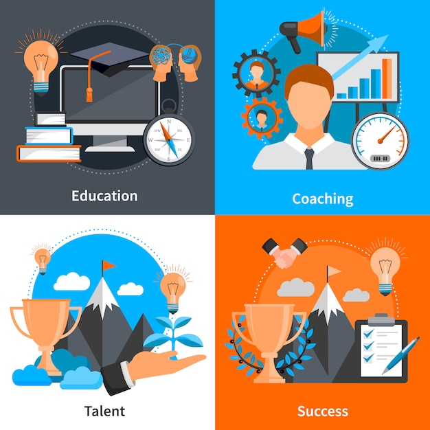 Flat design concept elements and characters for mentoring and coaching skills development set isolated vector illustration Free Vector