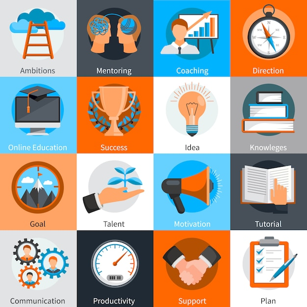 Flat design concept elements for mentoring and coaching skills development set isolated vector illustration Free Vector