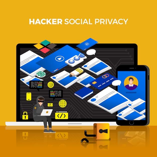 Flat design concept hacker activity cyber thief Premium Vector