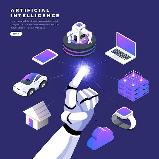 Flat design concept isometric artificial intelligence Premium Vector