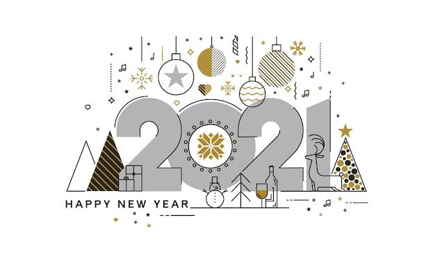 행복 한 새 해 2021 인사말 카드, 유행 하 고 최소한의 카드 또는 배경의 평면 디자인 개념. 현대 얇은 라인 디자인. 프리미엄 벡터