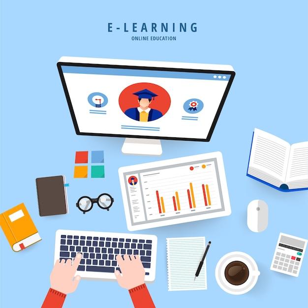 フラットデザインコンセプトの人々はeラーニングプログラムでオンライン知識を教育します Premiumベクター