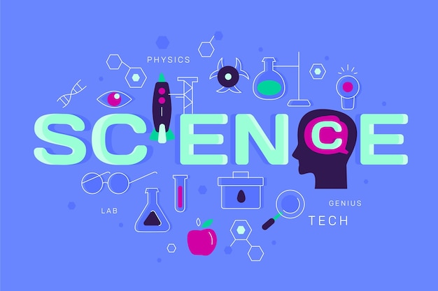 Flat design concept science word | Free Vector
