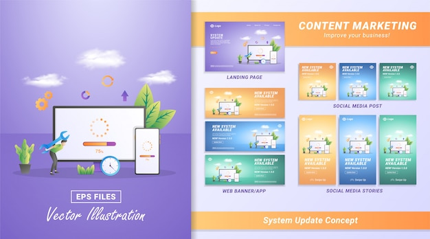 Flat design concept of updating system. the process of upgrading to system update, replacing newer versions and installing programs. Premium Vector