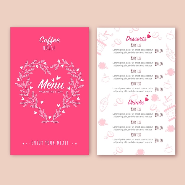 Flat design concept for valentines day menu Free Vector