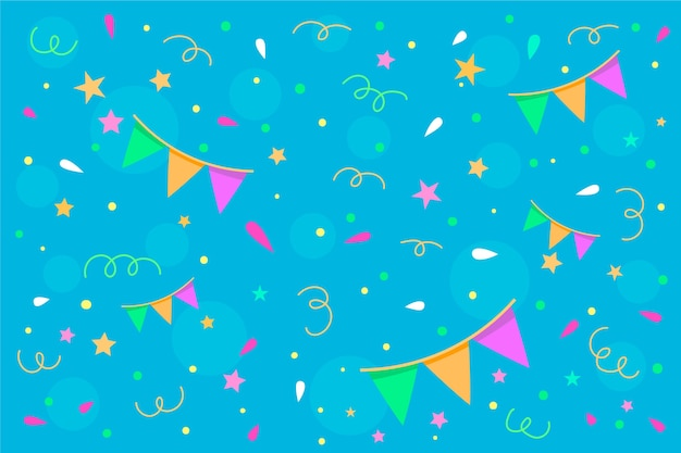 Flat design confetti background theme Free Vector
