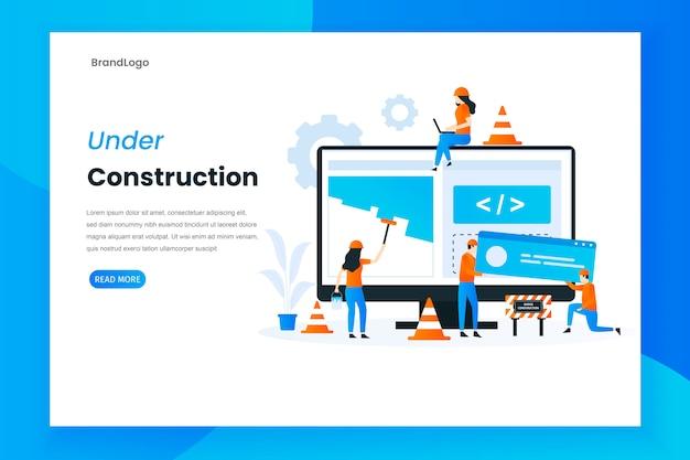 Flat design under construction landing page illustration Premium Vector