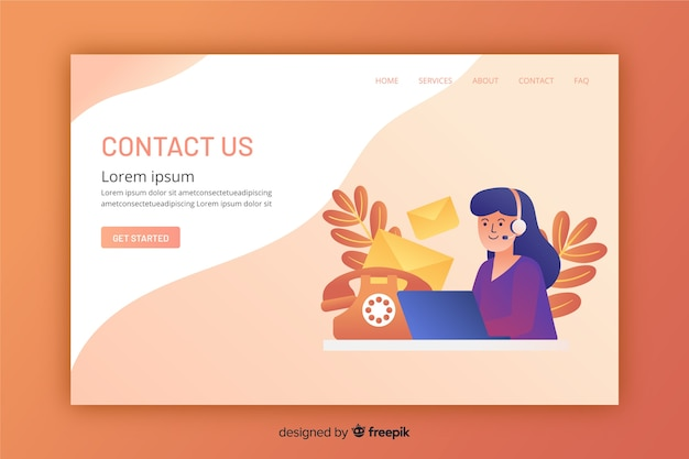 Flat design of a contact landing page Free Vector