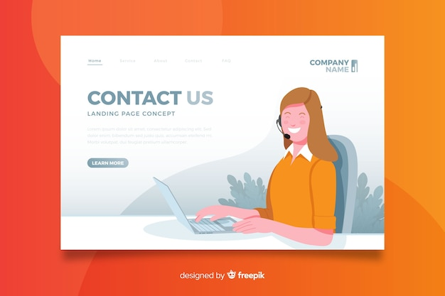 Flat design contact us concept landing page Free Vector
