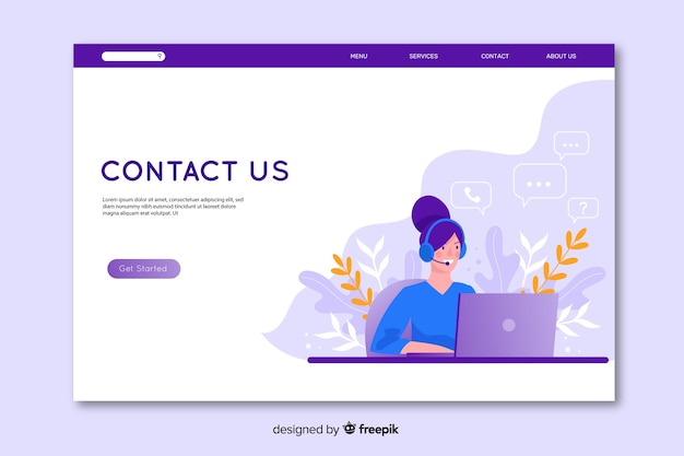 Flat design contact us landing page Free Vector