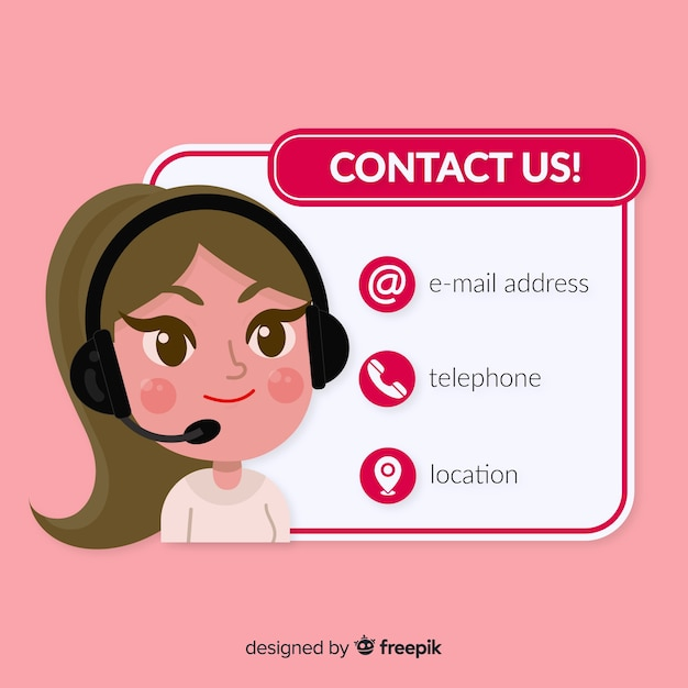 Flat design contact us template Free Vector