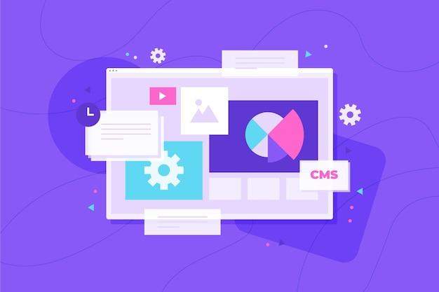 Flat design content management system illustration Free Vector