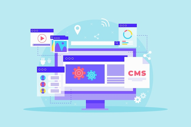 Flat design content management system illustration Free Vector