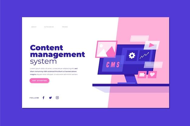 フラットデザインコンテンツ管理システムのランディングページ 無料ベクター
