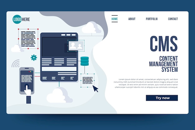 Flat design content management system landing page Free Vector