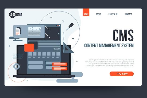 Modello web di sistema di gestione dei contenuti design piatto Vettore gratuito