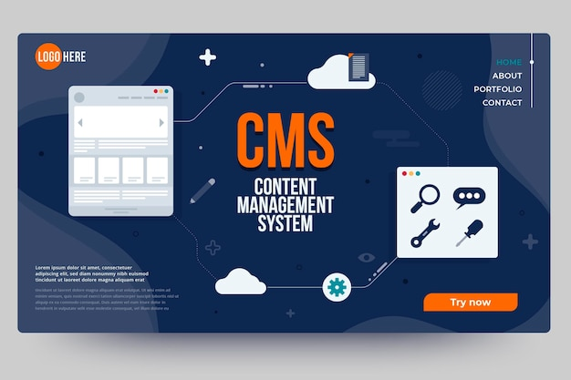Flat design content management system web template Free Vector