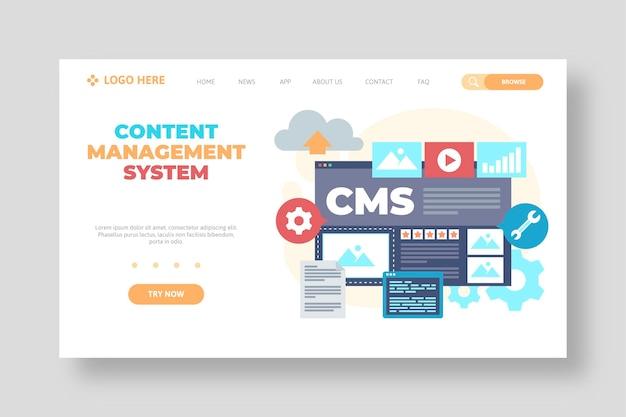 フラットデザインコンテンツ管理システムのwebテンプレート 無料ベクター