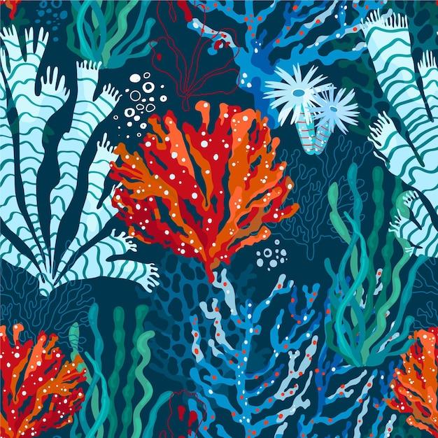 Modello corallo design piatto Vettore gratuito