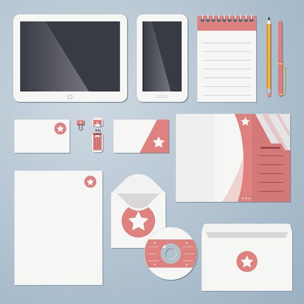 Flat design corporate identity vector illustration Free Vector