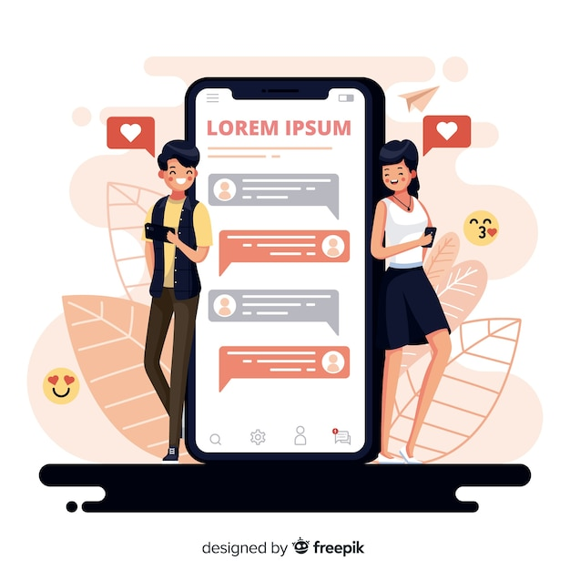 Flat design couple chatting on dating app with emojis Free Vector