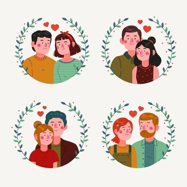 Плоский дизайн пара в коллекции любви Бесплатные векторы