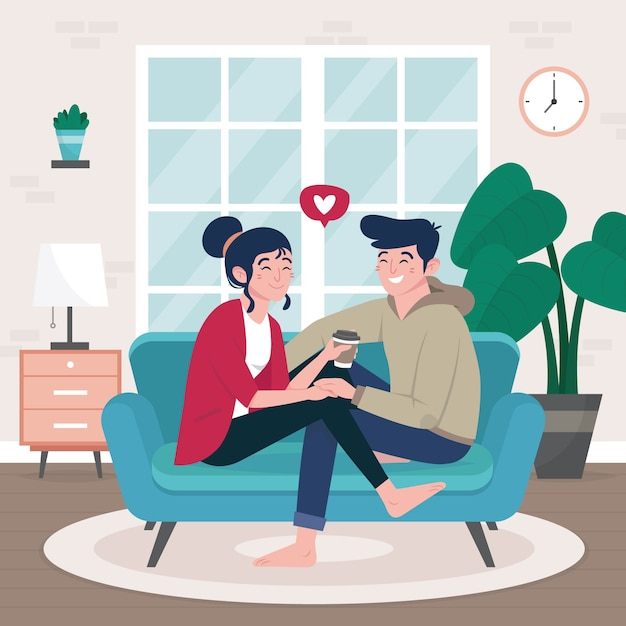 Flat design couple on sofa Free Vector