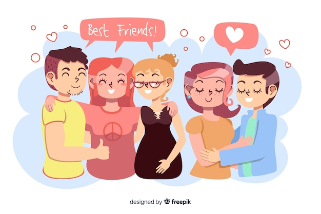 Flat design couple with best friends Free Vector